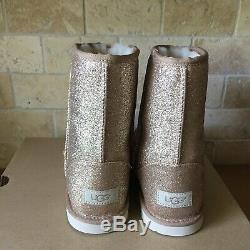 UGG Classic Short II Glitter Sparkle Gold Boots Youth Kids Girls 3 = Womens US 5