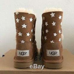 UGG Girls Kids Toddler Size 12 Bailey Button II Starlight Boots Chestnut Brown