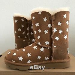 UGG Girls Kids Toddler Size 12 Bailey Button II Starlight Boots Chestnut Brown