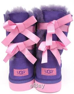 UGG KIDS GIRLS BAILEY BOW BOOTS PURPLE REIGN/LIPGLOSS PINK SIZE 4 NEW with box