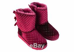 UGG Kids Girls Red Suede Bailey Bow Starlight Polka Dot Boots US2RTL$140