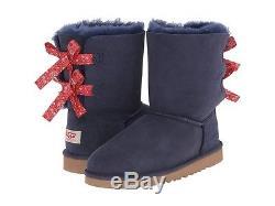 UGG Kids Girls Youth 13 Bailey Bow Bandana Indigo Blue Winter Sheepskin Boots