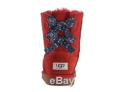 UGG Kids Girls Youth Size 3 Bailey Bow Bandana MRRD Red Winter Sheepskin Boots