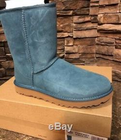 UGG New Classic Short II Highland Teal Green Suede Fur Boots Girls Size 5 Kids