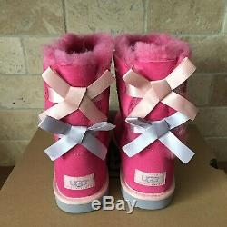 UGG SHORT BAILEY BOW PINK AZALEA SUEDE BOOTS SIZE 4 YOUTH GIRLS KIDS fit WOMEN 6
