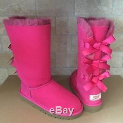 UGG Tall Triple Triplet Bailey Bow Cerise Pink Suede Boots Size 2 Kid Girl Youth