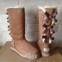 UGG Tall Triple Triplet Bailey Bow Chestnut Suede Boots Size US 1 Kid Girl Youth