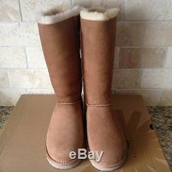 UGG Tall Triple Triplet Bailey Bow Chestnut Suede Boots Size US 13 Kids Girls