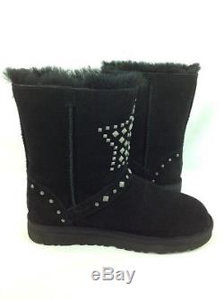 Ugg Australia Classic Short Boot Adrianna Stars Girls Kids Black 4 Us / 34 Eur