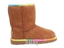 Ugg Australia Classic Short Rainbow Chestnut kids Youth Girls Boot Size 5 USA