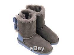 Ugg Australia Girls Kids Bailey Bow Wool GREY BLUE 1007933K Sheepskin Lined Boot