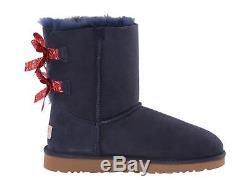 Ugg Australia Girls Kids Youth Bailey Bow Bandana Boots Blue Red Size 3 New