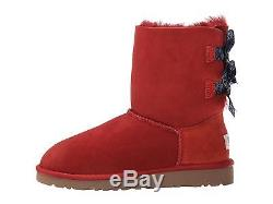 Ugg Australia Girls Kids Youth Bailey Bow Bandana Boots Matador Red Size 3 New