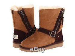Ugg Australia Girls Kids Youth Blaise Boots Moto Slip On Chestnut Size 4 New