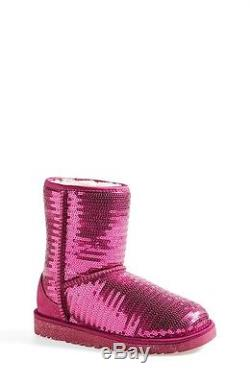 Ugg Australia Girls Kids Youth Size 5 Pink Classic Sparkle Boots