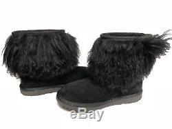 Ugg Australia Kid's Classic Short II Fluff Mongolian Hair Cuff Boots sz 5 Girls