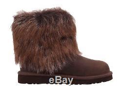 Ugg Australia Kids Girls Ellee Brown Seude Fur Youth size 3 NEW