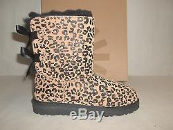 Ugg Australia Size 1 M Kids Bailey Bow Leopard Leather Boots New Girls Shoes