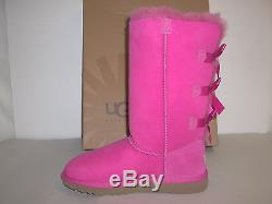 Ugg Australia Size 1 M Kids Bailey Bow Tall Violet Leather Boots New Girls Shoes