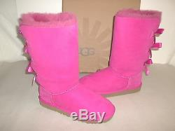 Ugg Australia Size 2 M Kids Bailey Bow Tall Violet Leather Boots New Girls Shoes