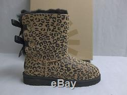 07464bfacc3 Ugg Australia Size 3 M Kids Bailey Bow Leopard Leather Boots New ...