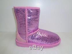 Ugg Australia Size 3 M Little Kids CLASSIC SHORT SPARKLES Boots New Girls Shoes