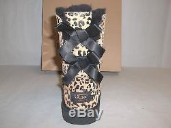 df86e9d1665 Ugg Australia Size 4 M Big Kids Bailey Bow Leopard Leather Boots New ...