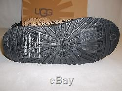 Ugg Australia Size 4 M Big Kids Bailey Bow Leopard Leather Boots New Girls Shoes