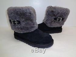 Ugg Australia Size 4 M Big Kids ELLEE Black Suede Wool Boots New Girls Shoes