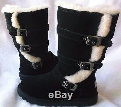 Ugg Australia Size Big Kids Girls 4 Black Maddi Suede Boots New Without Box