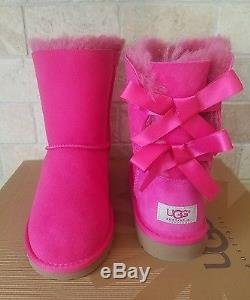 Ugg Bailey Bow Cerise Pink Suede Sheepskin Boots Size Us 2 Youth Kids Girls