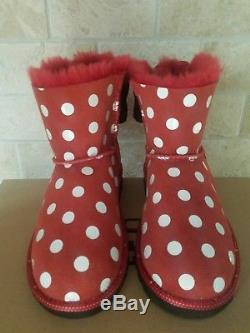 Ugg Disney Minnie Sweetie Bow Red Dot Black Suede Boots Size 13 Toddler Kid Girl