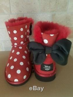 Ugg Disney Minnie Sweetie Bow Red Dot Black Suede Boots Size 2 Youth Kids Girls