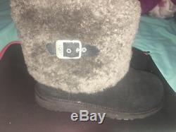 Ugg Ellee Girls Boots Black Suede / Sheepskin Cuff -big Kids Us 5 -new