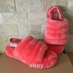 Ugg Fluff Yeah Slide Coral Slingback Shoes Slippers Size 6 Youth Kid = Women 8