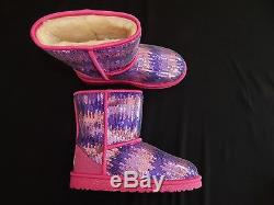 Ugg K Classic Short Sparkles Wave boots new kids girls youth 1006434Y K PPNK