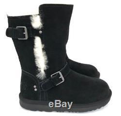 Ugg Magda Boots Girls Kids Black Water Resistant Suede Sheepskin Wool Lining