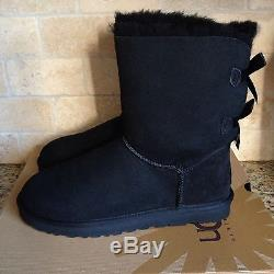 Ugg Short Bailey Bow Black Suede Sheepskin Boots Size Us 2 Youth Kids Girls