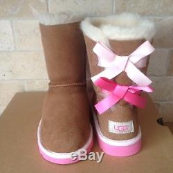 Ugg Short Bailey Bow Chestnut Azalea Pink Suede Boots Size Us 2 Youth Kids Girls