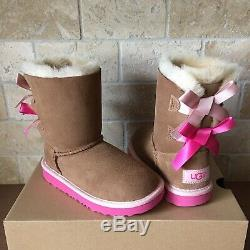 Ugg Short Bailey Bow Chestnut Pink Suede Boots Size 5 Kids Youth Girl = Womens 7