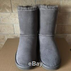 Ugg Short Bailey Bow Grey Gray Suede Boots Size Us 6 Youth Kid Girls = Womens 8