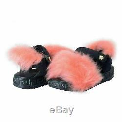 Versace Young Kid's Fur Trimmed Sandals Shoes Sz 30
