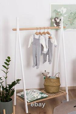 Wooden Clothes Rail Hanging Rack Stand Shoe Storage Shelf