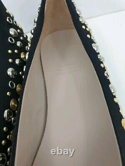 YOUNG VERSACE Pumps Ballet Shoes with Gold & Silver Studs Black UK 5/EU 38
